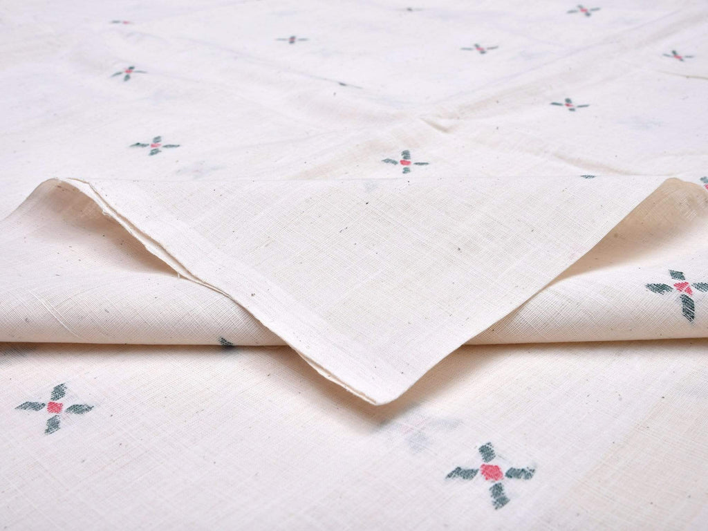 White Khadi Cotton Handloom Fabric With X Buta Design Without Border F0033