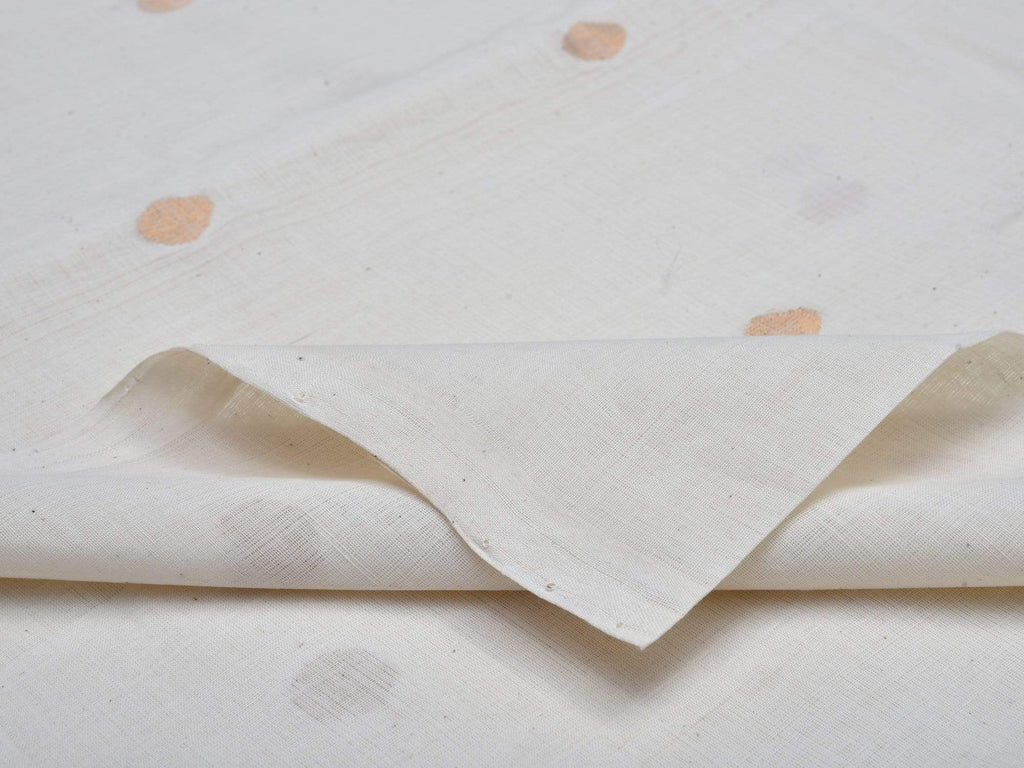 White Khadi Cotton Handloom Fabric With Zari Buta Design F0081