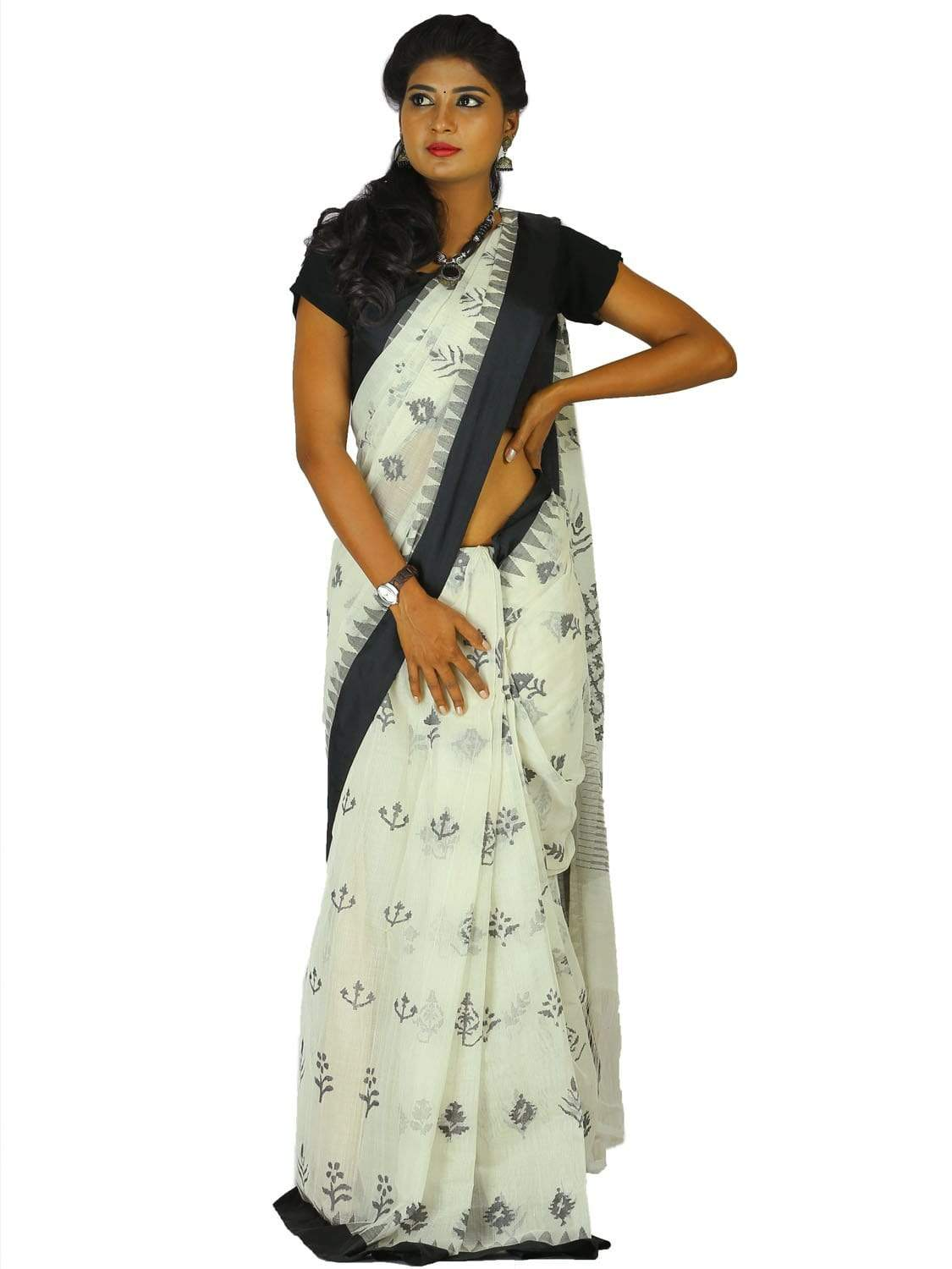 White Khadi Cotton Handloom Saree with All Over Assorted Butas Design kh0453