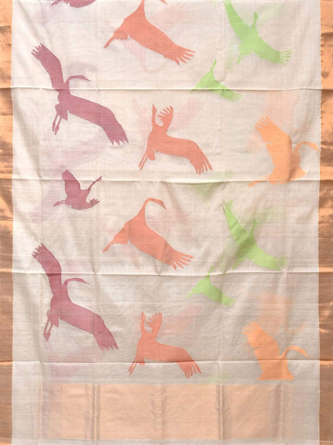 White Khadi Cotton Handloom Saree with All Over Birds Design kh0483