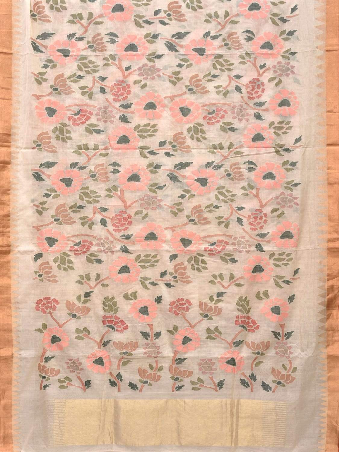 White Khadi Cotton Handloom Saree with All Over Flowers Design kh0480