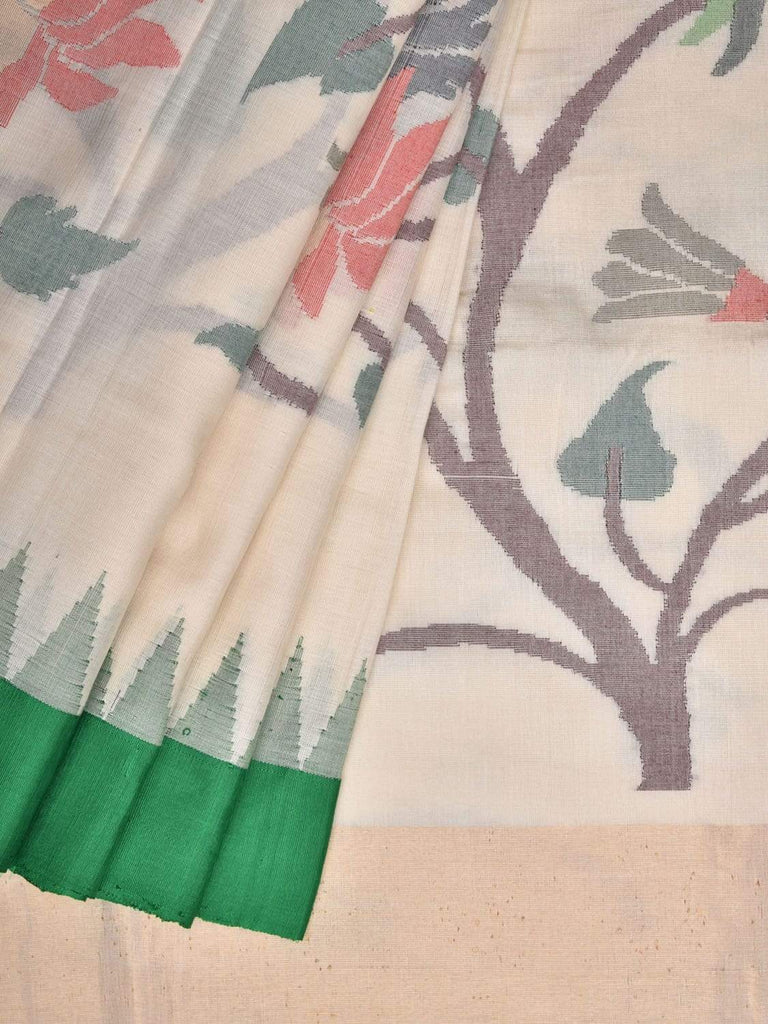 White Khadi Cotton Handloom Saree with All Over Lotus Flowers and Birds Design kh0501
