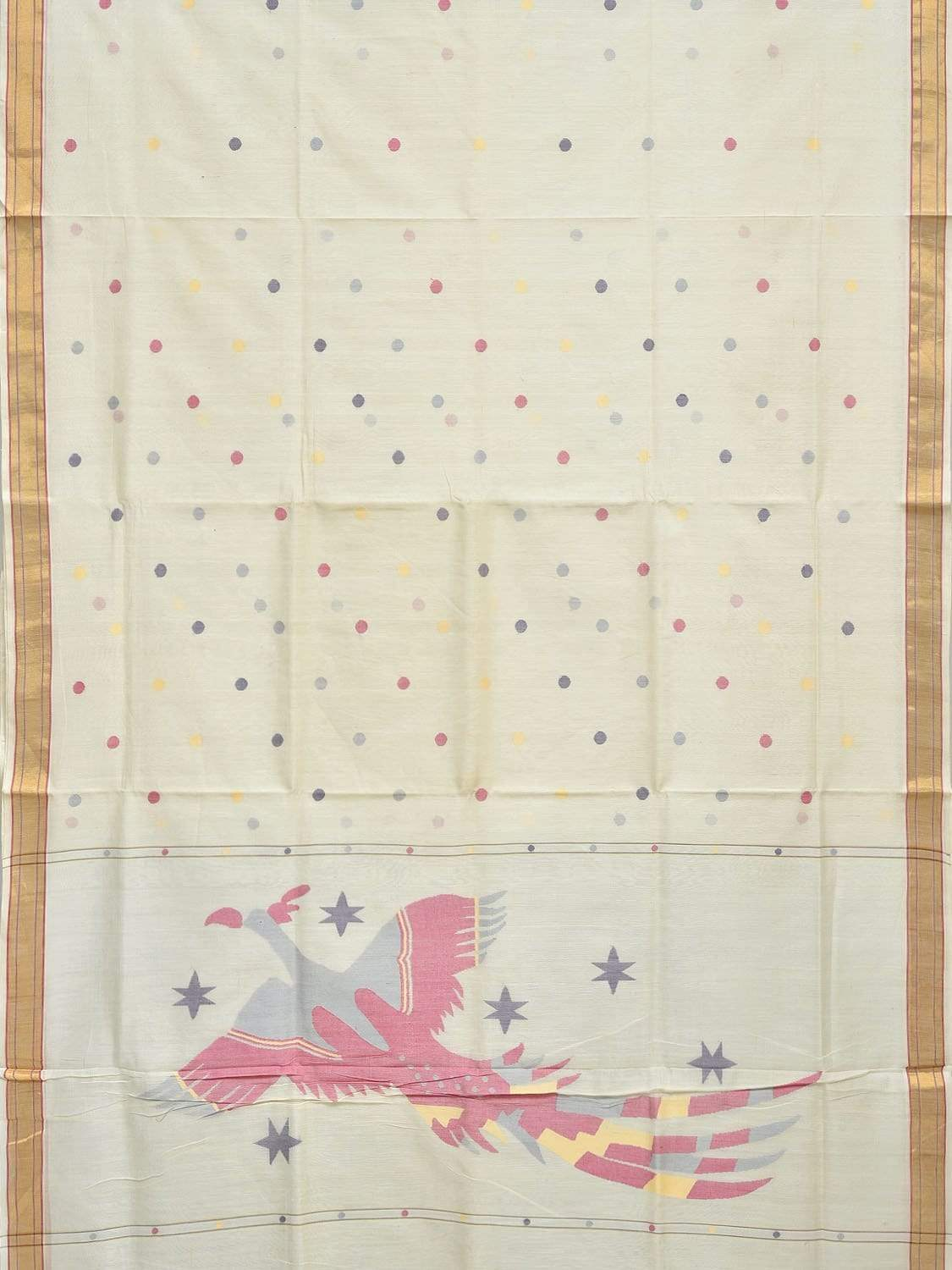 White Khadi Cotton Handloom Saree with Buta and Paradise Bird Pallu Design kh0435