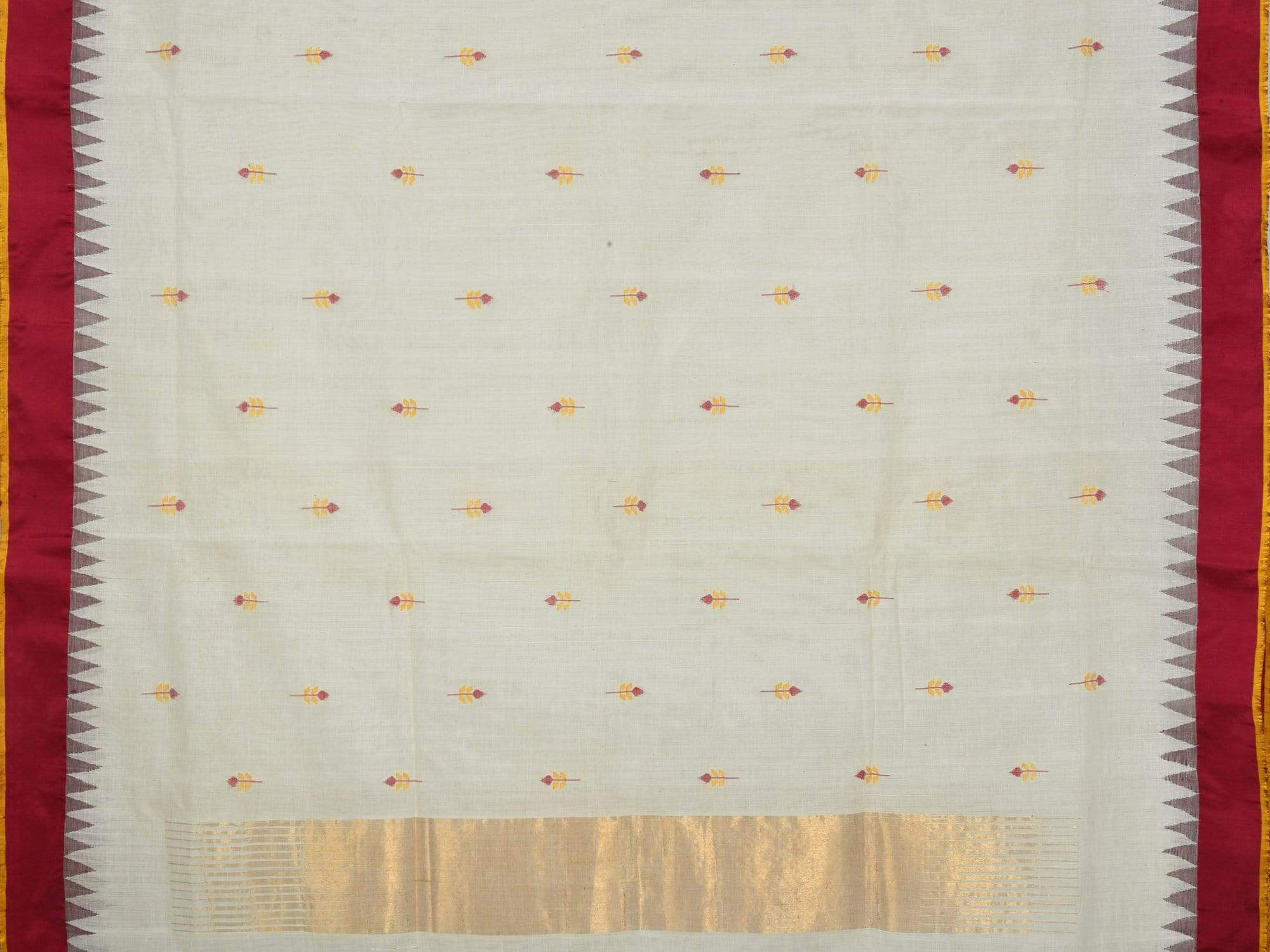 White Khadi Cotton Handloom Saree with jamdani Buta and Silk Border Design Kh0433