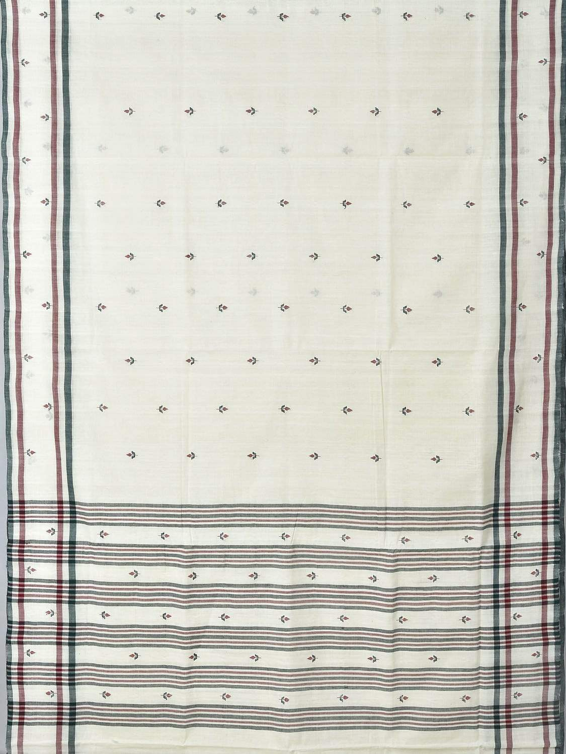 White Khadi Cotton Handloom Saree with Jamdani Buta Design Kh0444