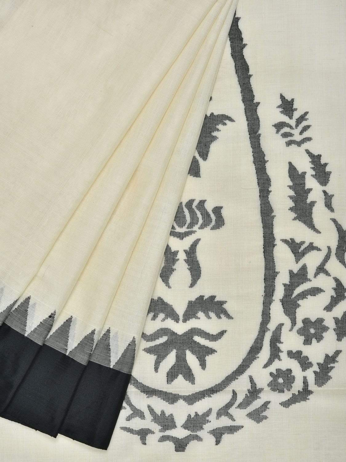 White Khadi Cotton Handloom Saree with Mango Design kh0447