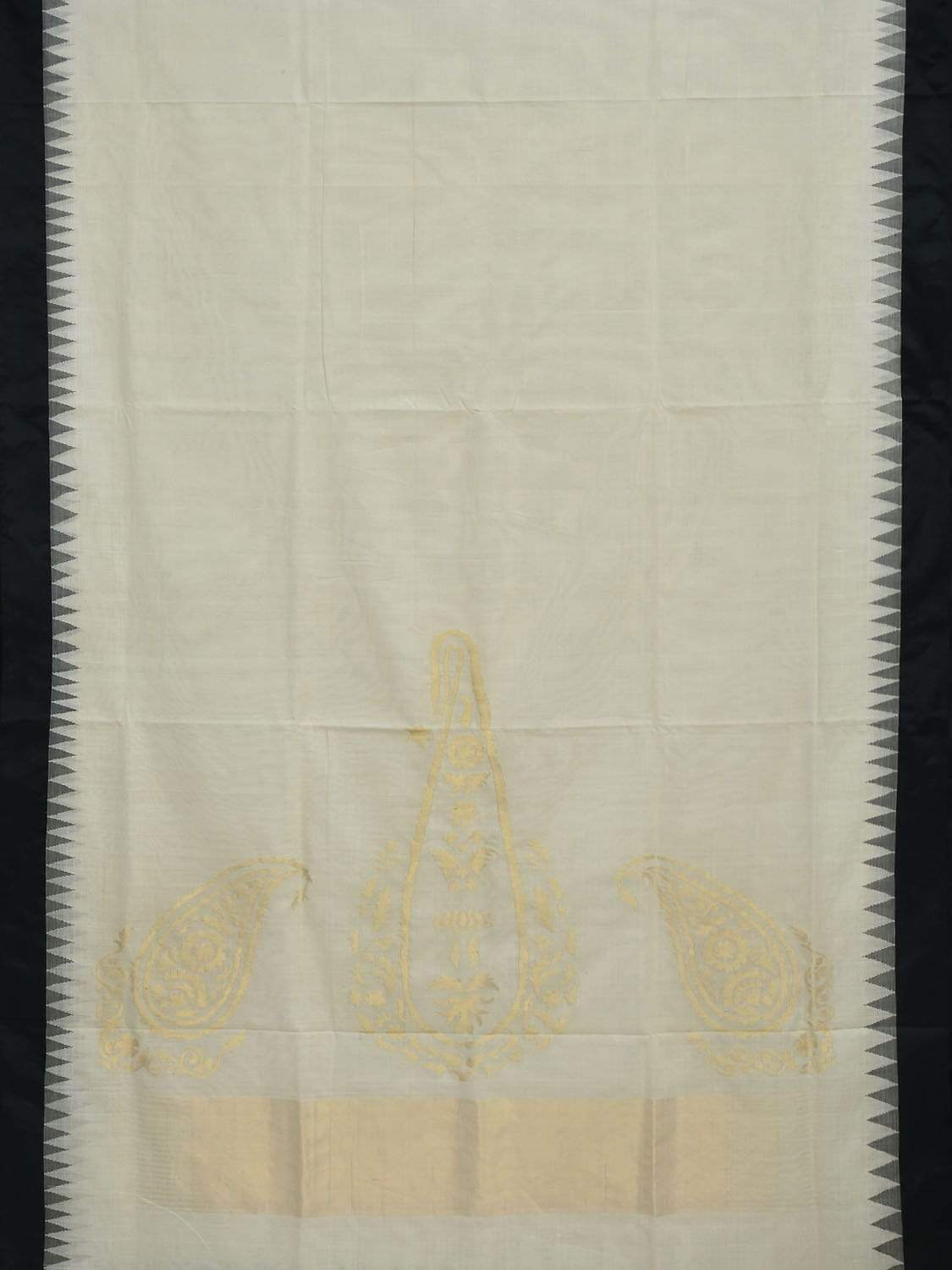 White Khadi Cotton Handloom Saree with Mango Design kh0449