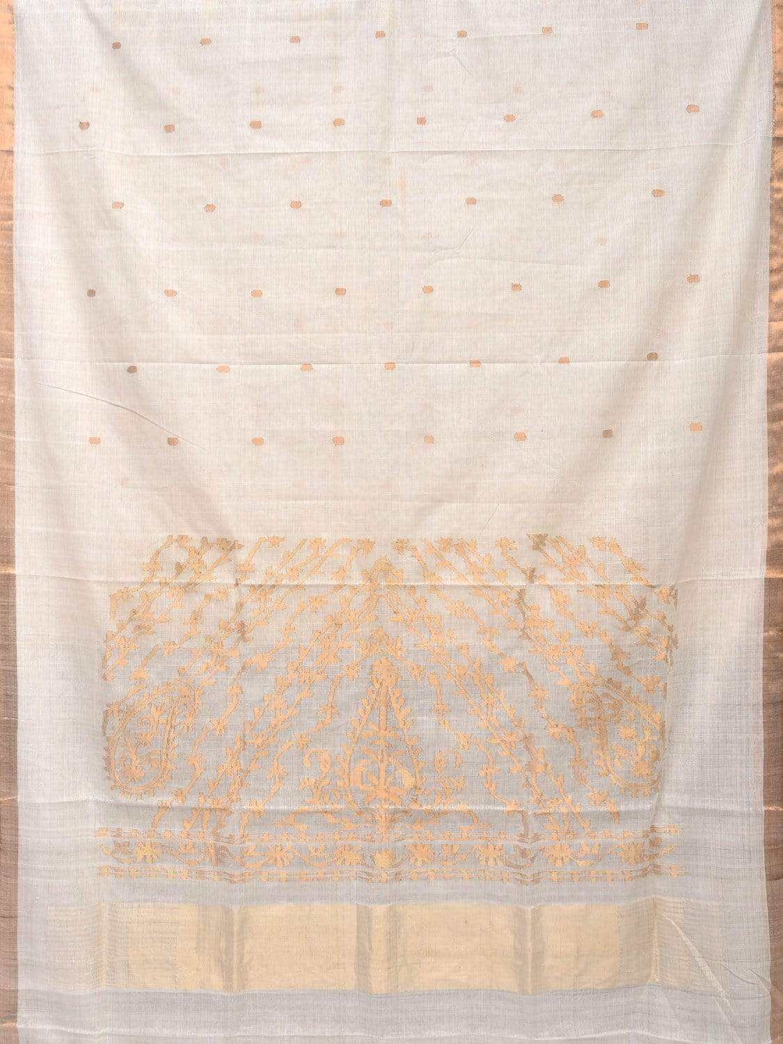 White Khadi Cotton Handloom Saree with Pallu Design kh0481