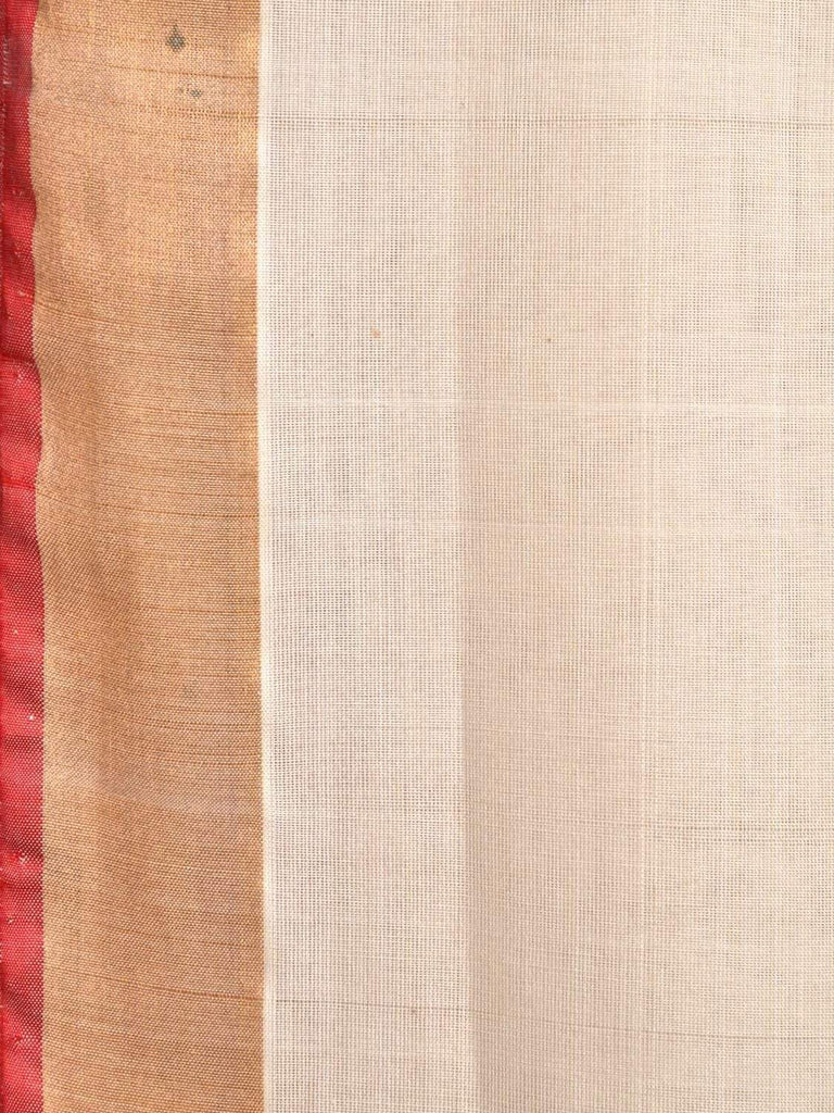 White Khadi Cotton Handloom Saree with Pallu Design kh0491