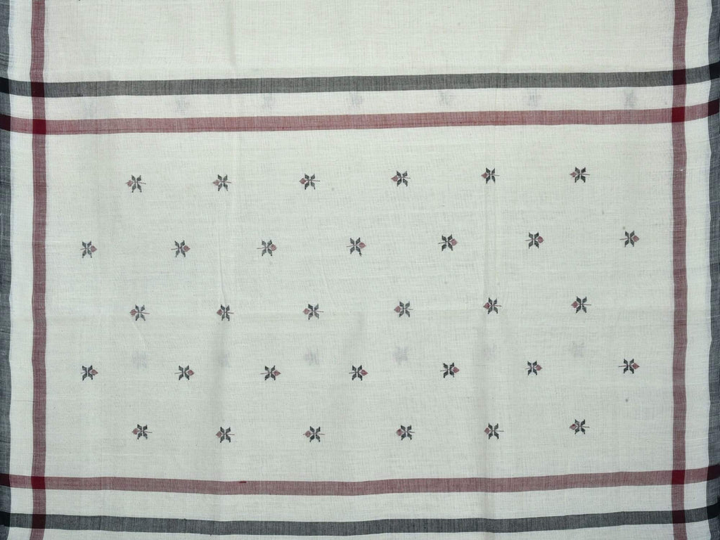 White Khadi Cotton Handloom Saree with Small Jamdani Buta Design kh0353