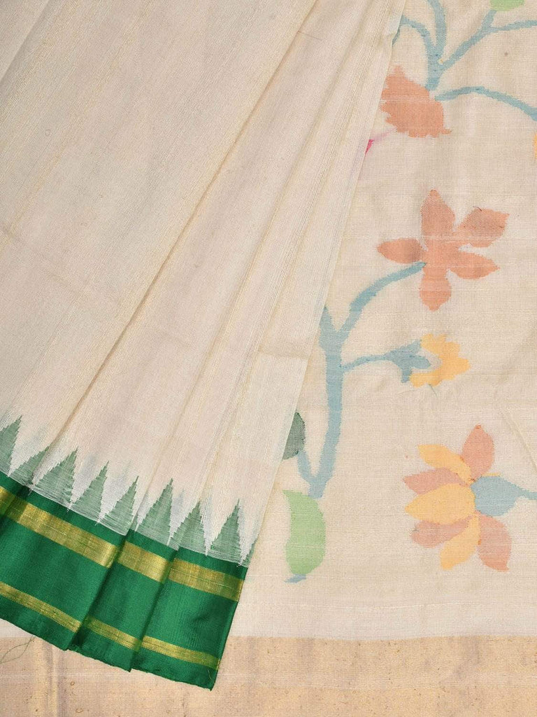 White Khadi Cotton Tussar Handloom Saree with Pallu and Temple Border Design kh0495