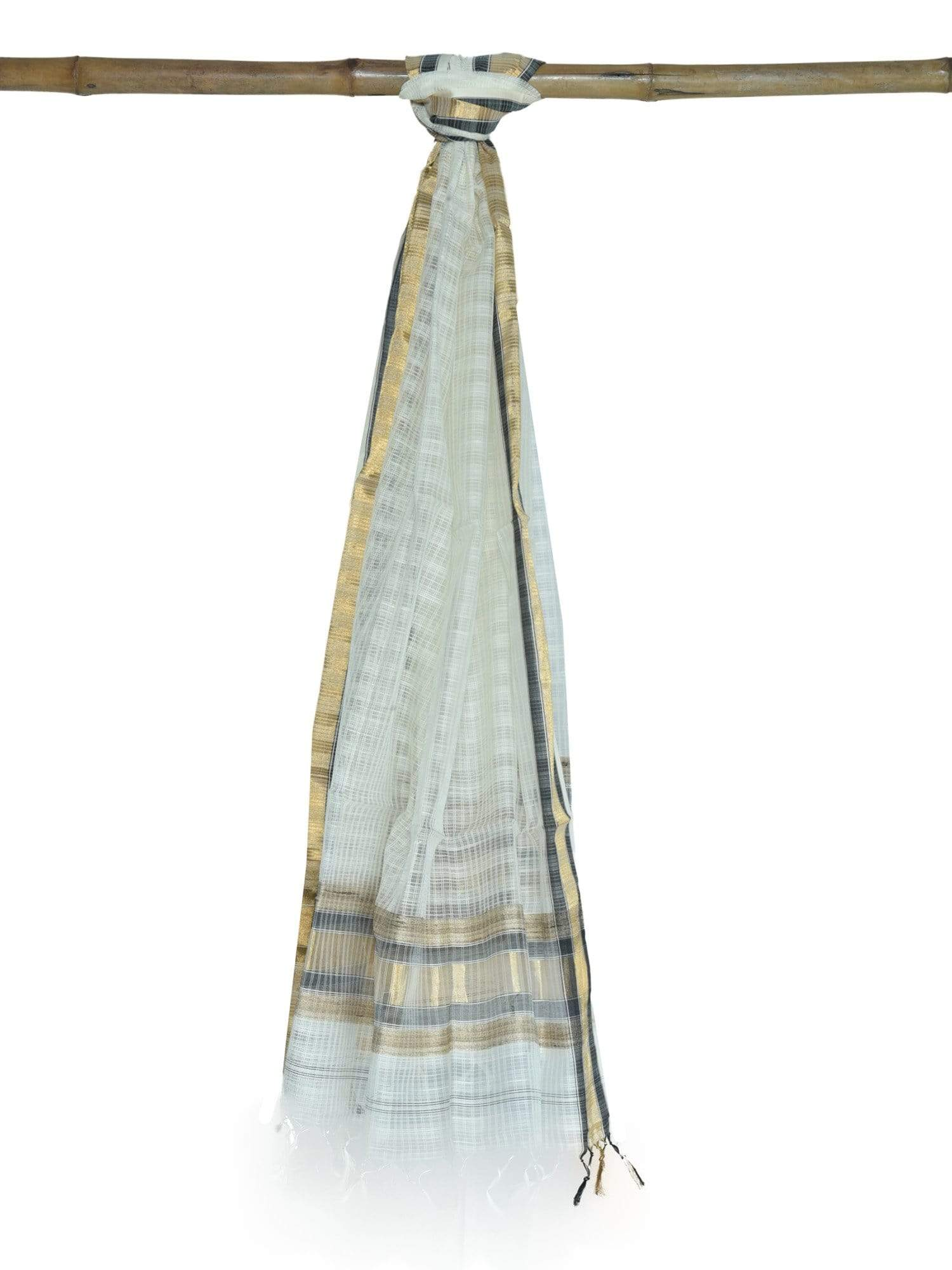 White Kota Cotton Handloom Dupatta ds1647