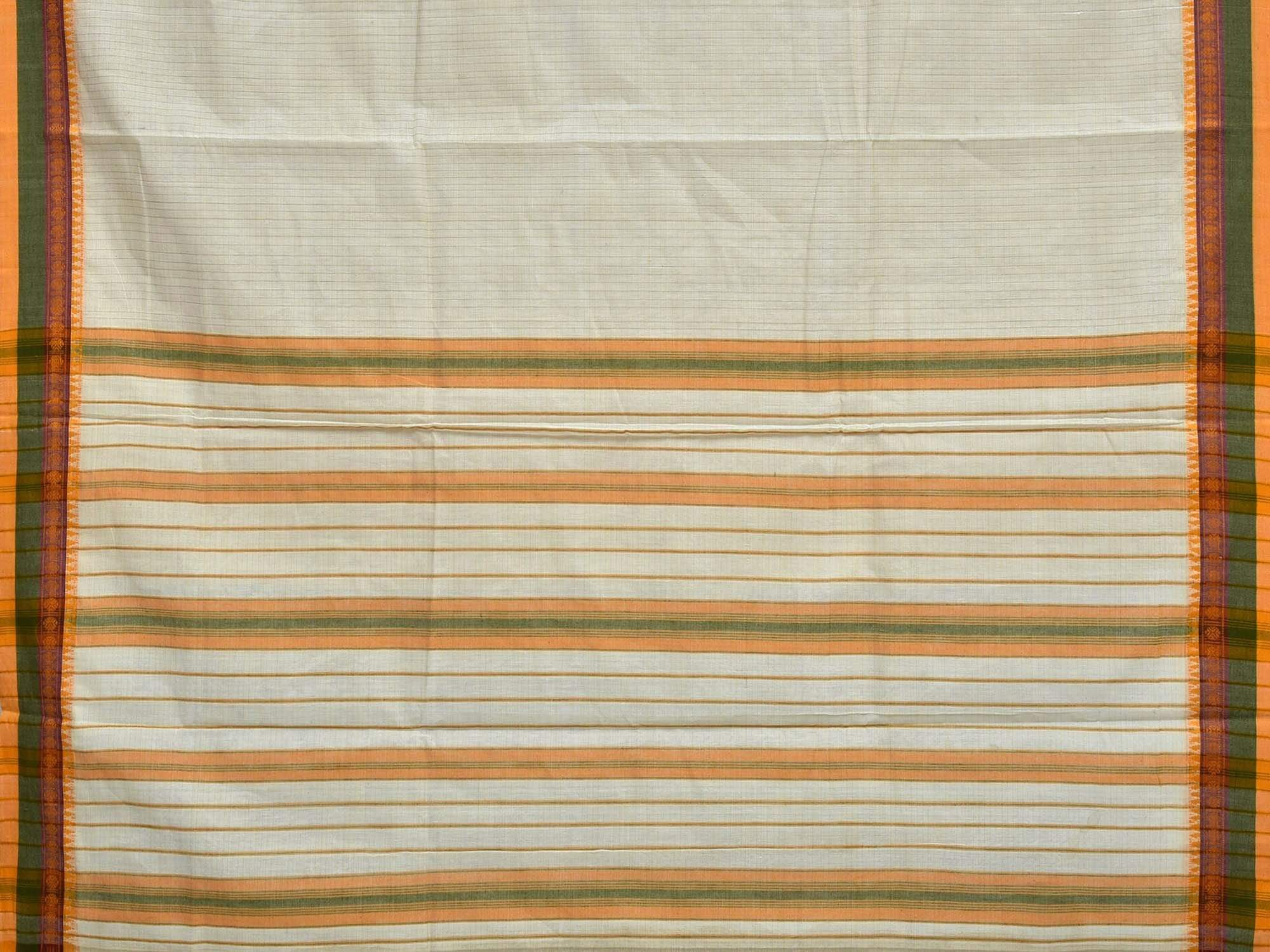 White Narayanpet Cotton Handloom Saree with Strips Design No Blouse np0193