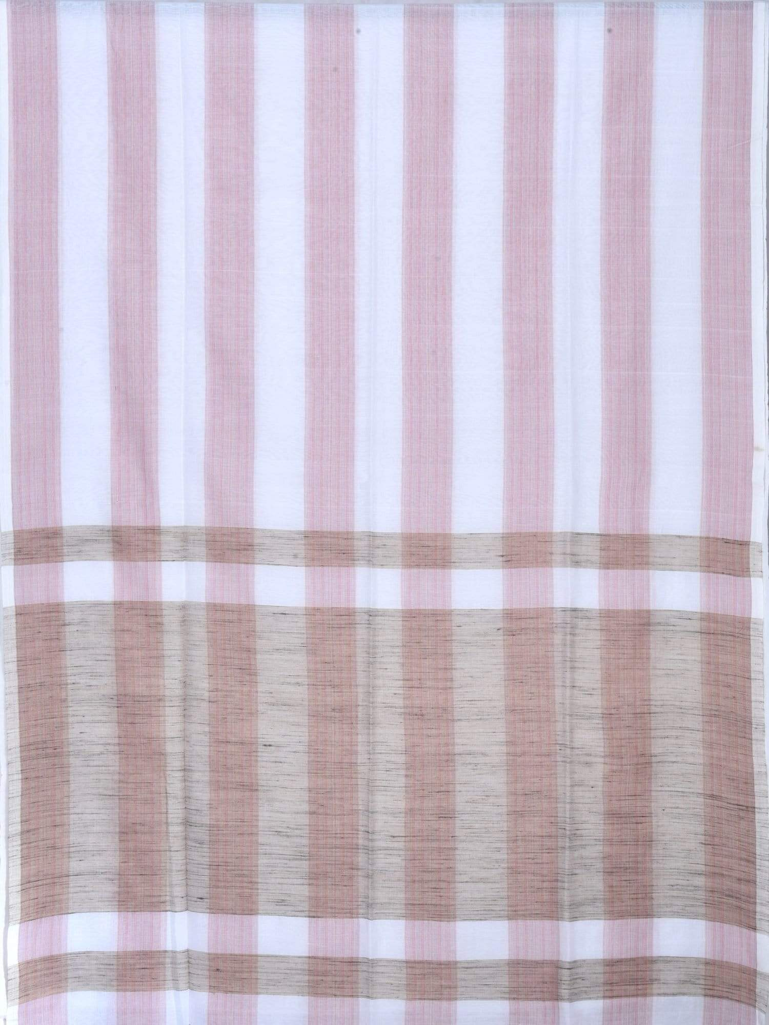 White Organic Cotton Handloom Saree with Strips Design o0208
