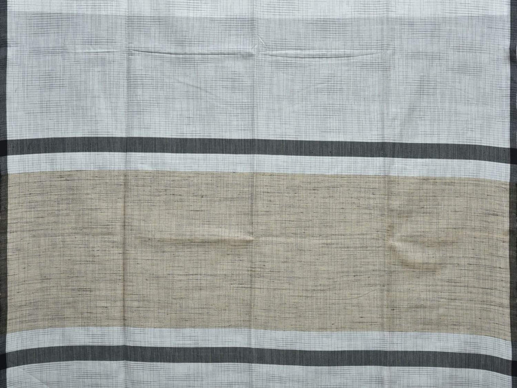 White Organic Cotton Handloom Saree with Strips Design o0263