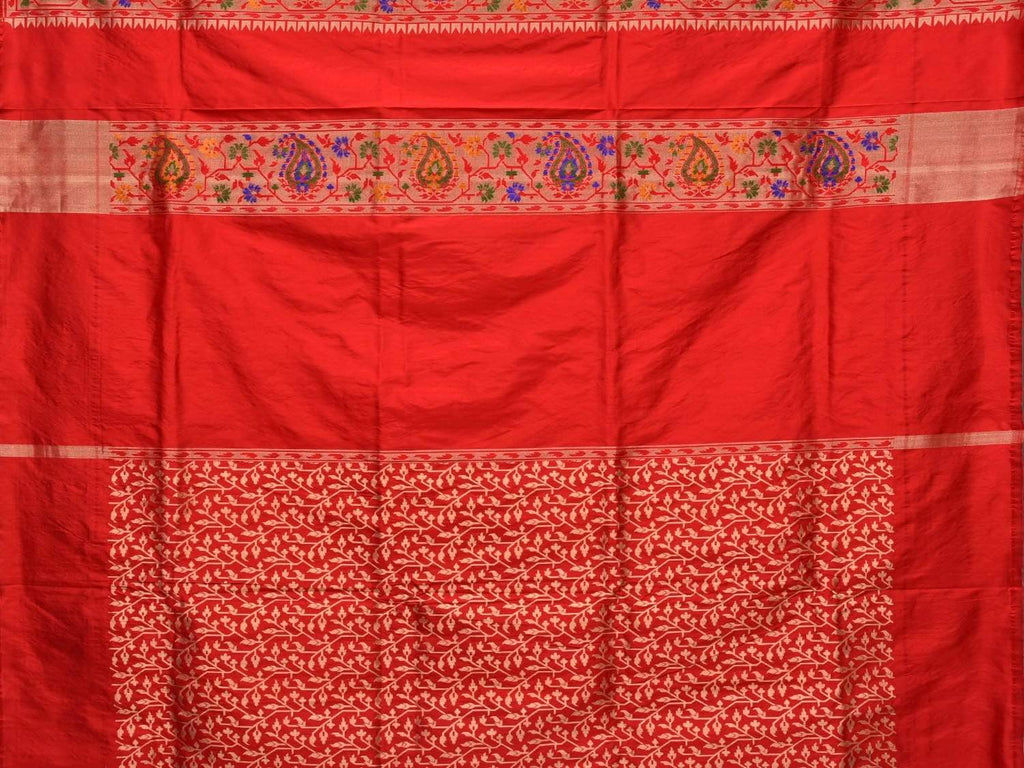 White Paithani Silk Handloom Saree with Mango Border Design p0337