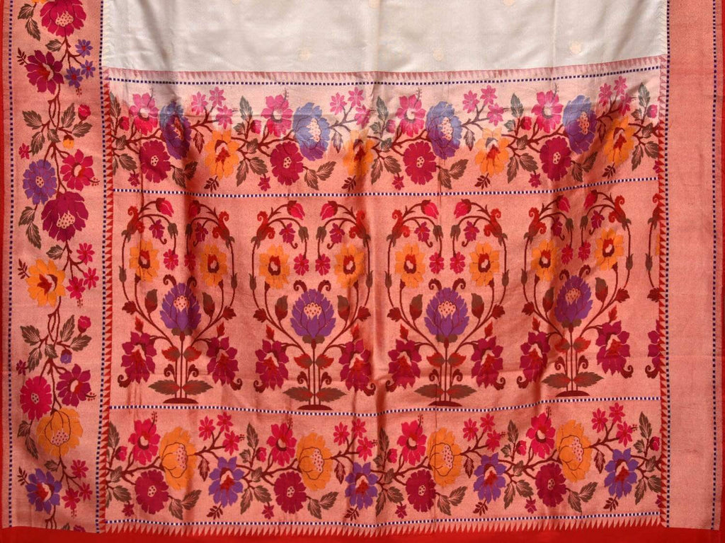 White Paithani Silk Handloom Saree with One Side Flower Border Design p0334