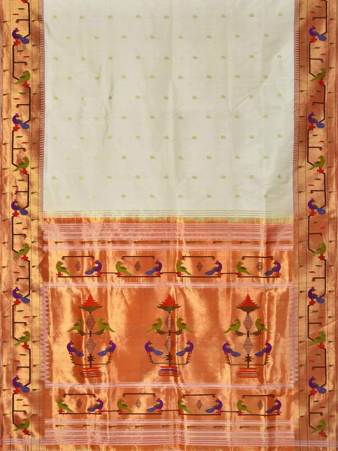 White Paithani Silk Handloom Saree with Peacock and Parrot Border Design p0320