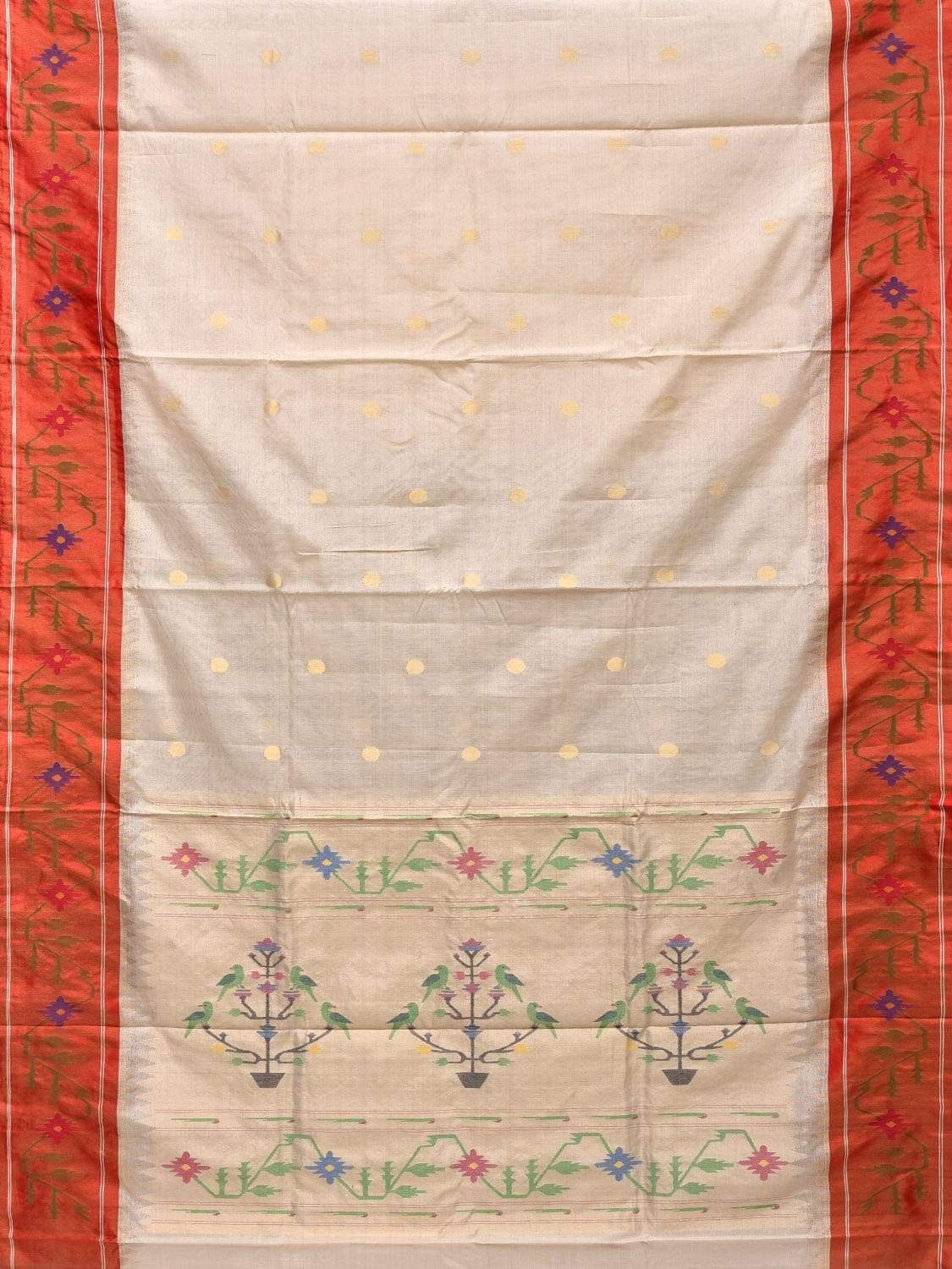 White Paithani Tussar Cotton Handloom Saree with Body Zari Buta and Border Design p0344