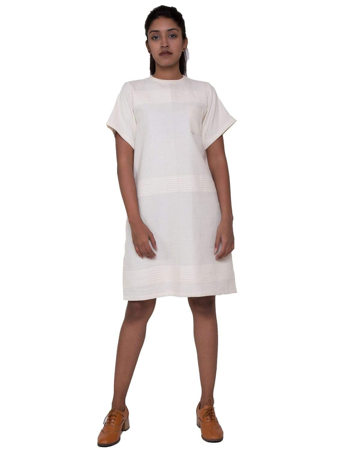 White PikaLove Organic Cotton Box Dress UNC-MB-BD-009