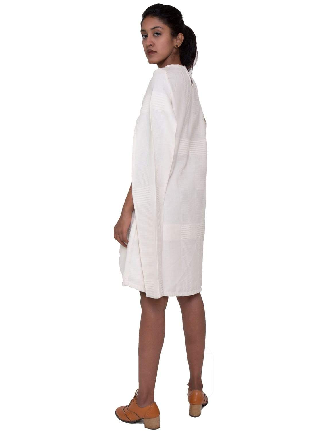 White PikaLove Organic Cotton Cape Sleeved Dress UNC-MB-WCS-011