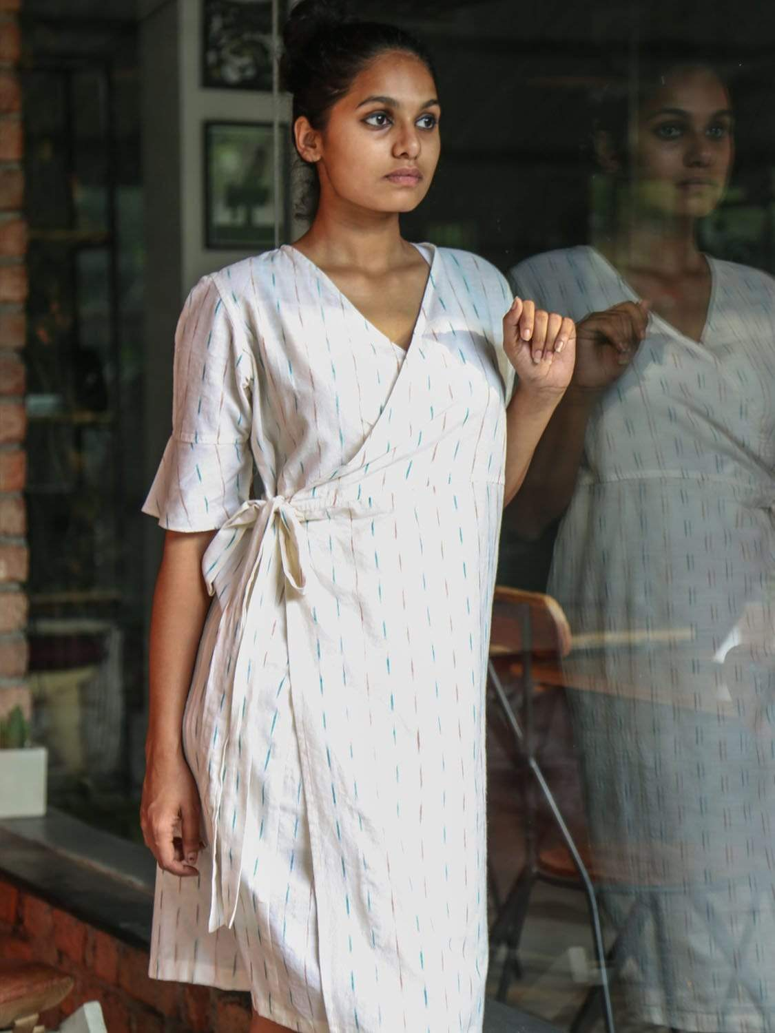 White PikaLove Organic Cotton Ikat Wrap Dress FNG-MB-WD-018