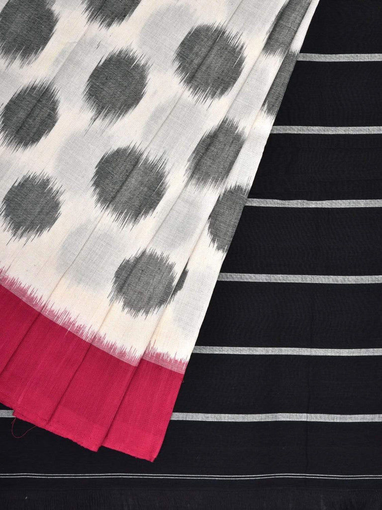 White Pochampally Ikat Cotton Handloom Saree with Polka Dots Buta and Ganga-Jamuna Border Design i0560