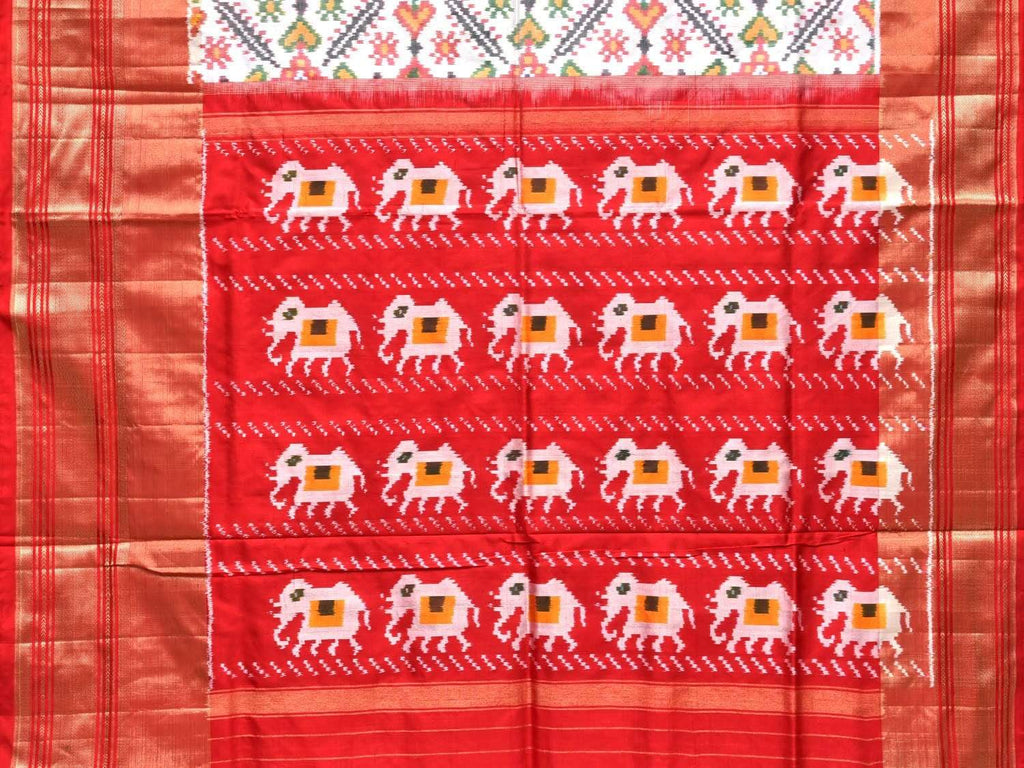 White Pochampally Single Ikat Silk Handloom Saree with Elephant Pallu and Grill Design i0565
