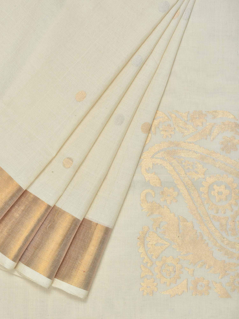 White Uppada Cotton Handloom Saree with Corner Mango Design u1541