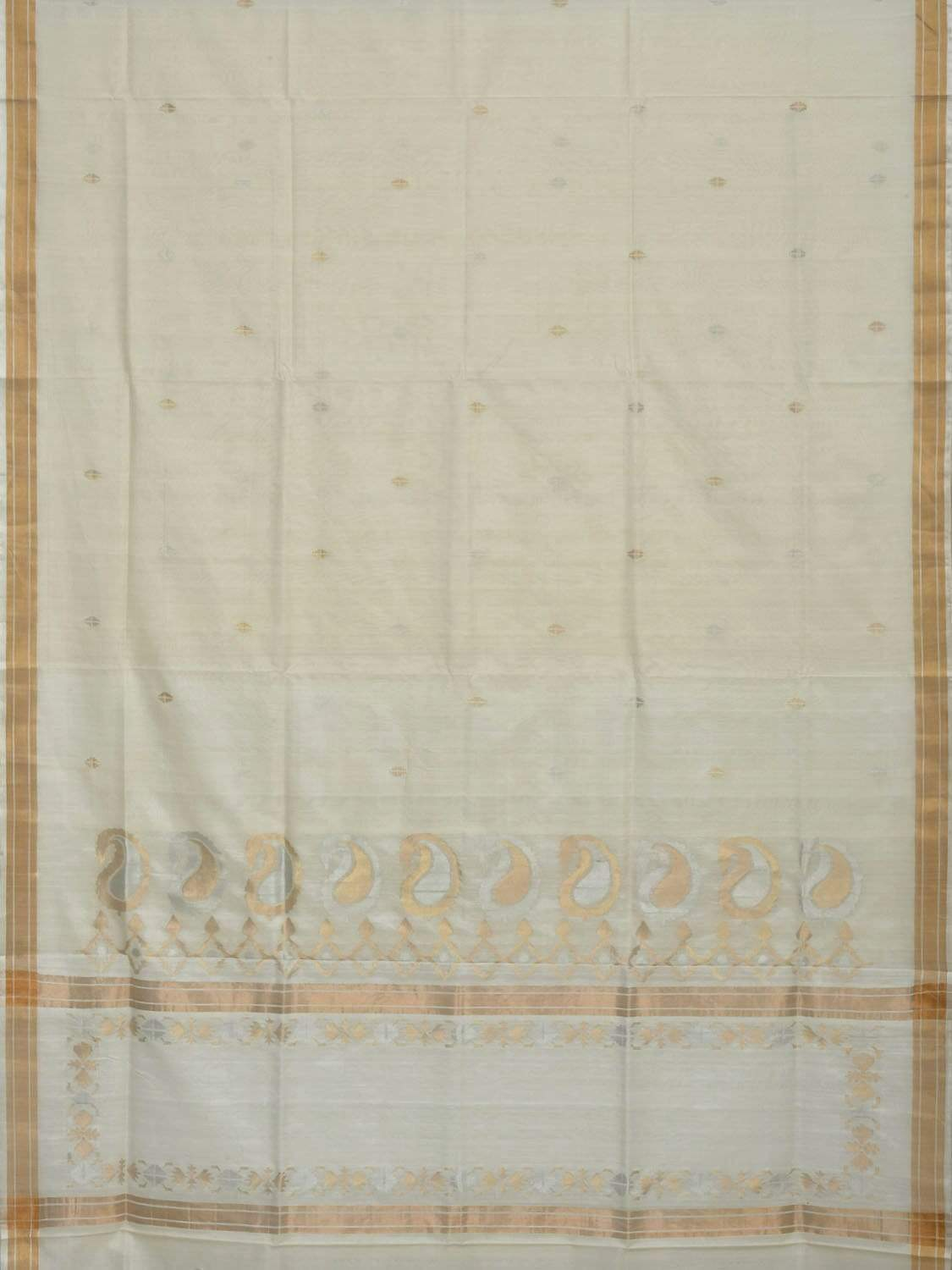 White Uppada Cotton Handloom Saree with Mango Design Pallu u1559