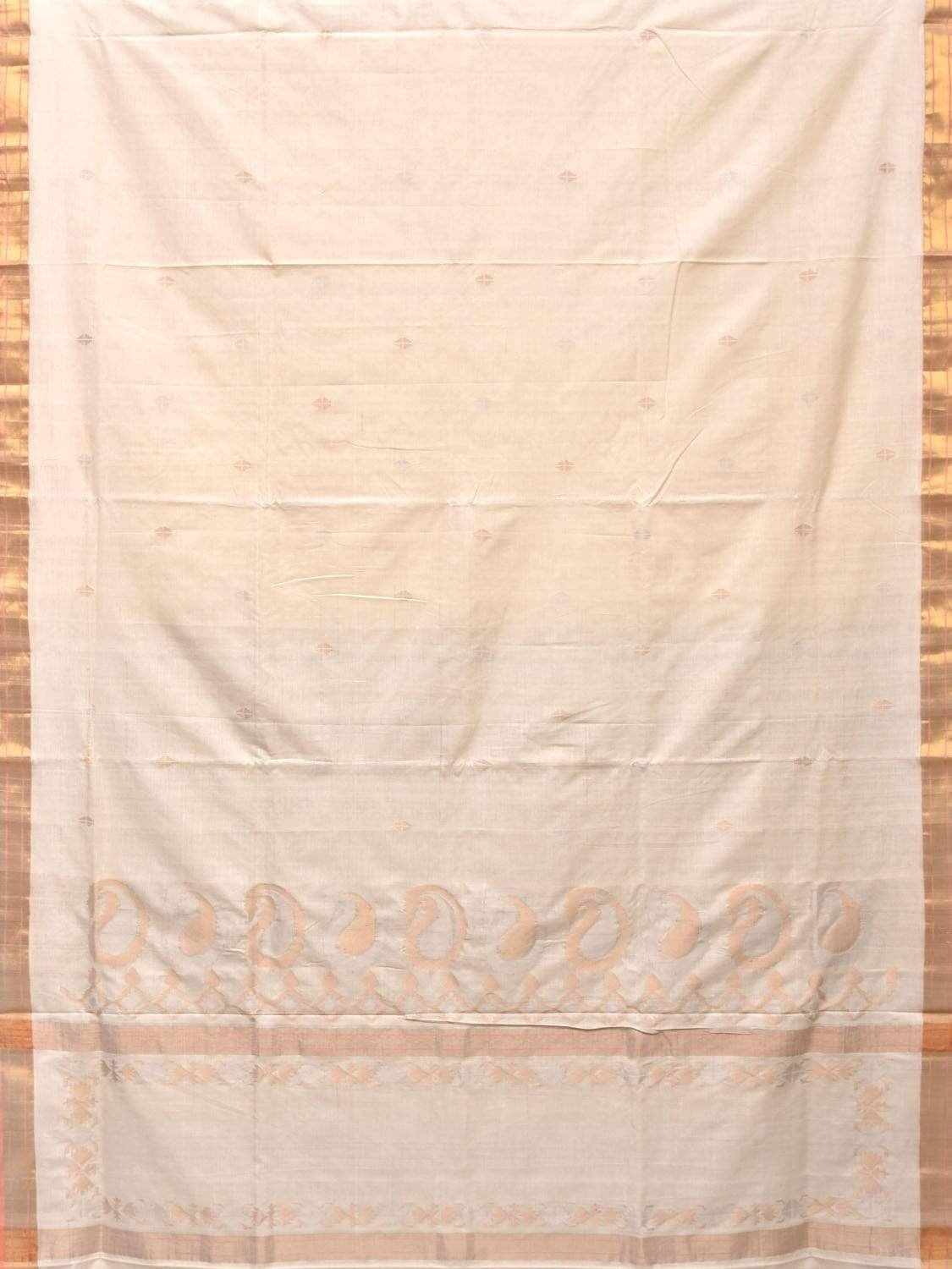 White Uppada Cotton Handloom Saree with Mango Design Pallu u1658