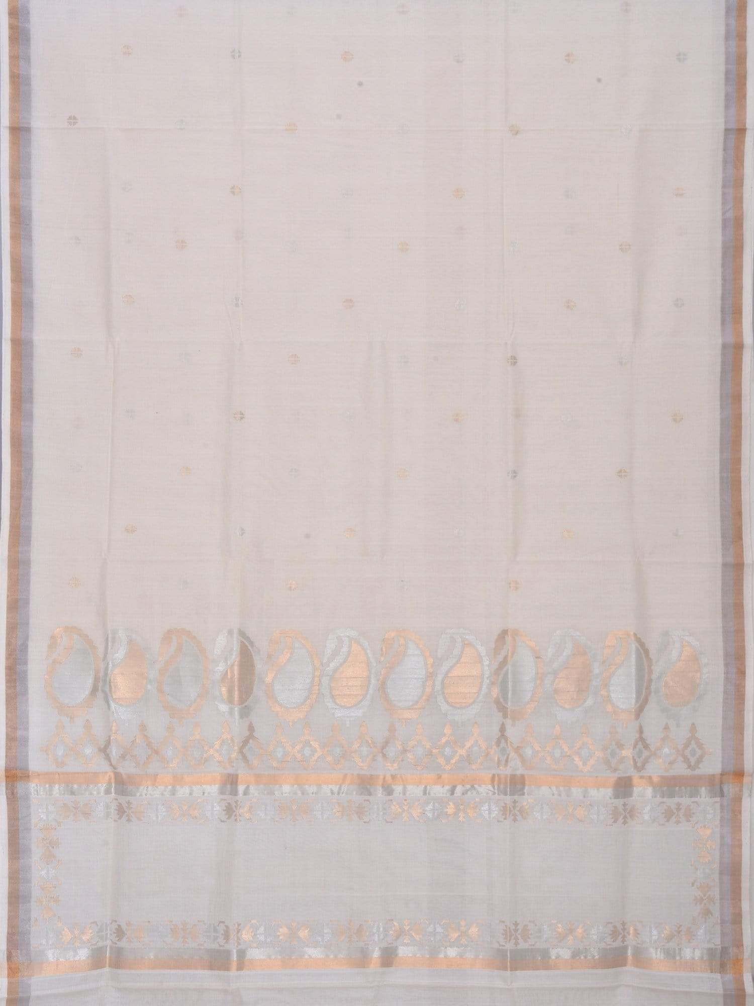 White Uppada Cotton Handloom Saree with Mango Pallu Design u1296