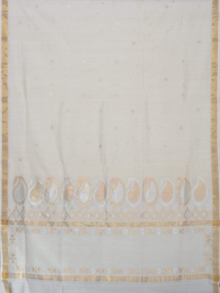 White Uppada Cotton Handloom Saree with Mango Pallu Design U1427