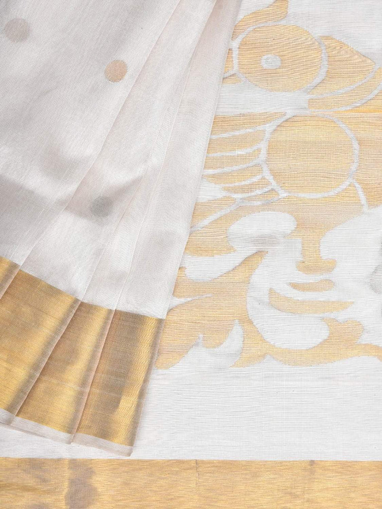 White Uppada Silk Handloom Saree with Birds Pallu Design u1703
