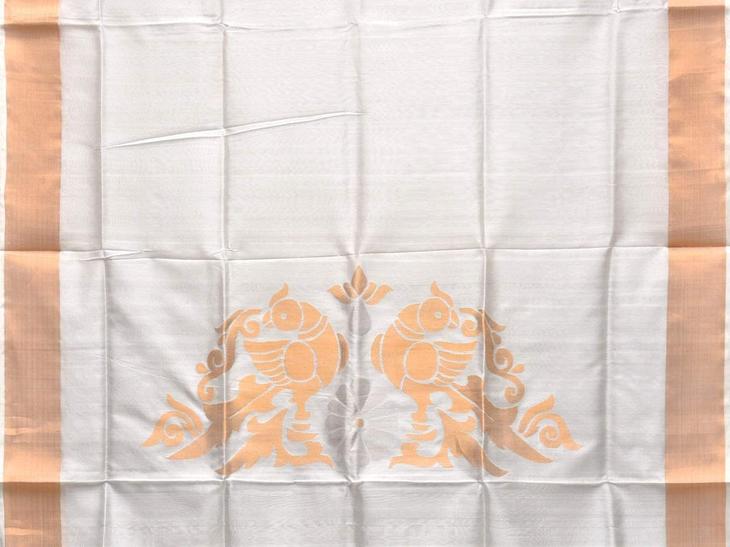 White Uppada Silk Handloom Saree with Birds Pallu Design u1714