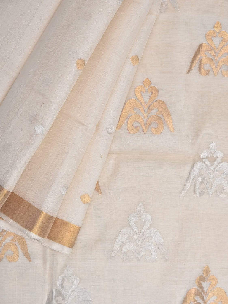 White Uppada Silk Handloom Saree with Trishul Buta Pallu Design u1692