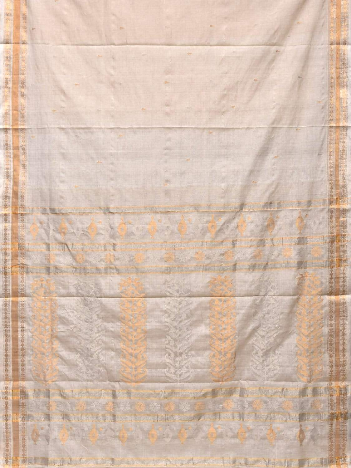 White Uppada Tussar Cotton Handloom Saree with Karpur Pallu Design u1631