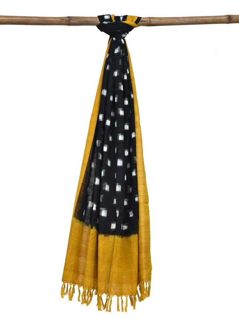 Yellow and Black Pochampally Ikat Cotton Handloom Dupatta with Square Buta Design ds1835