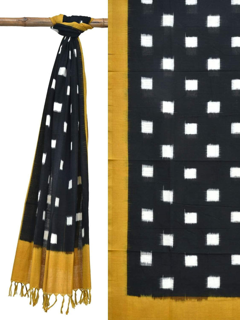 Yellow and Black Pochampally Ikat Cotton Handloom Dupatta with Square Buta Design ds1839