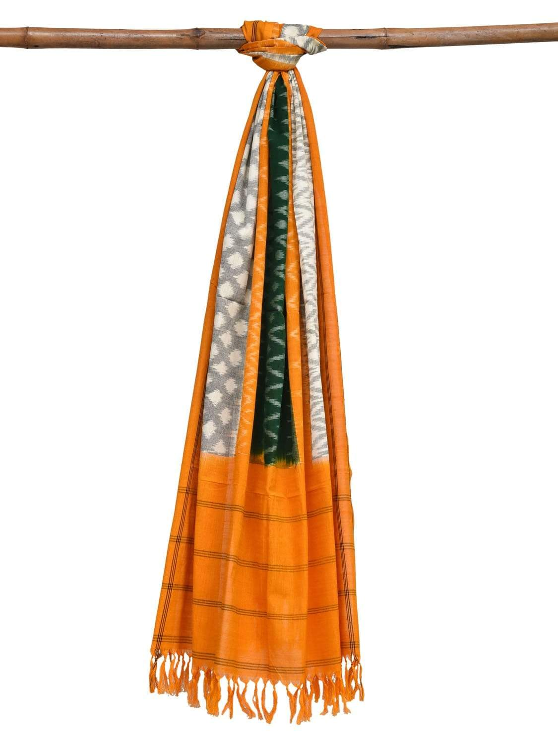 Yellow and Green Pochampally Ikat Cotton Handloom Dupatta with Triple Design ds1890