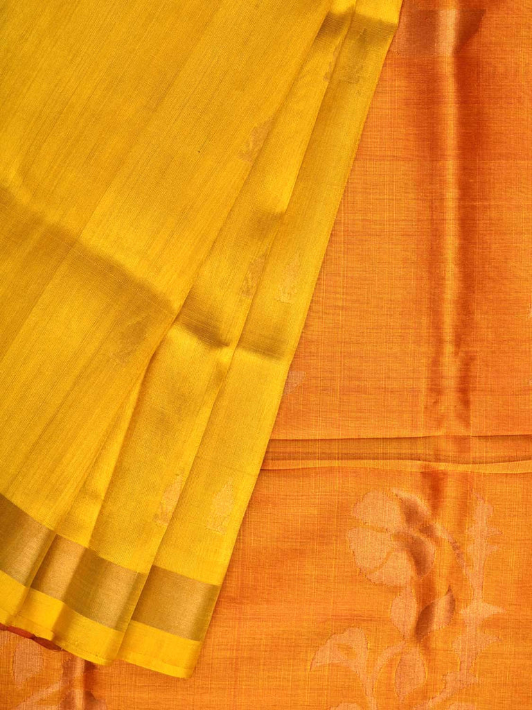 Yellow and Orange Uppada Silk Handloom Saree with Flower Pot Buta Pallu Design u1713