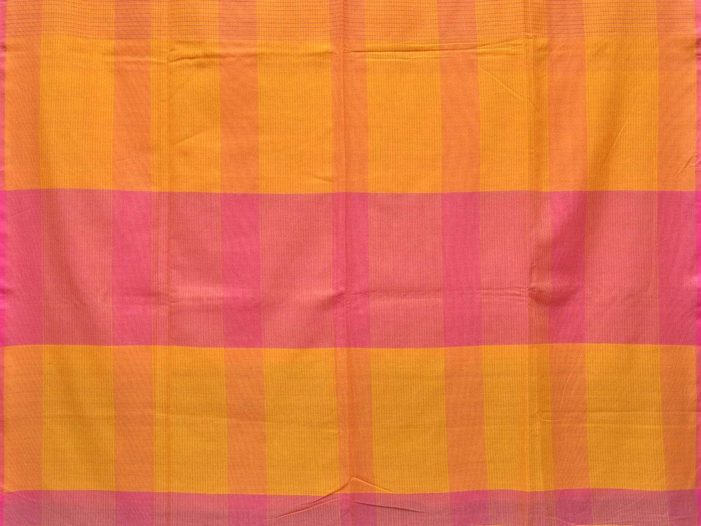 Yellow and Pink Soft Cotton Handloom Saree with Checks Design o0284