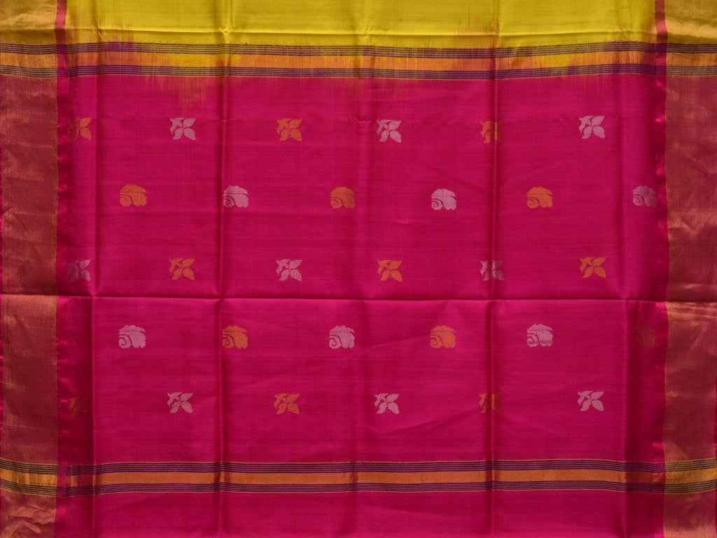 Yellow and Pink Uppada Silk Handloom Saree with Buta and Contrast Pallu Design u1746