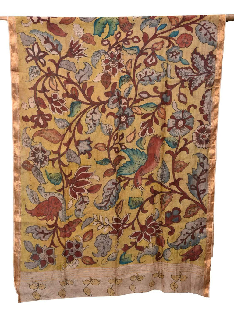 Yellow Kalamkari Hand Painted Cotton Silk Handloom Dupatta with Flowers and Birds Design ds2152