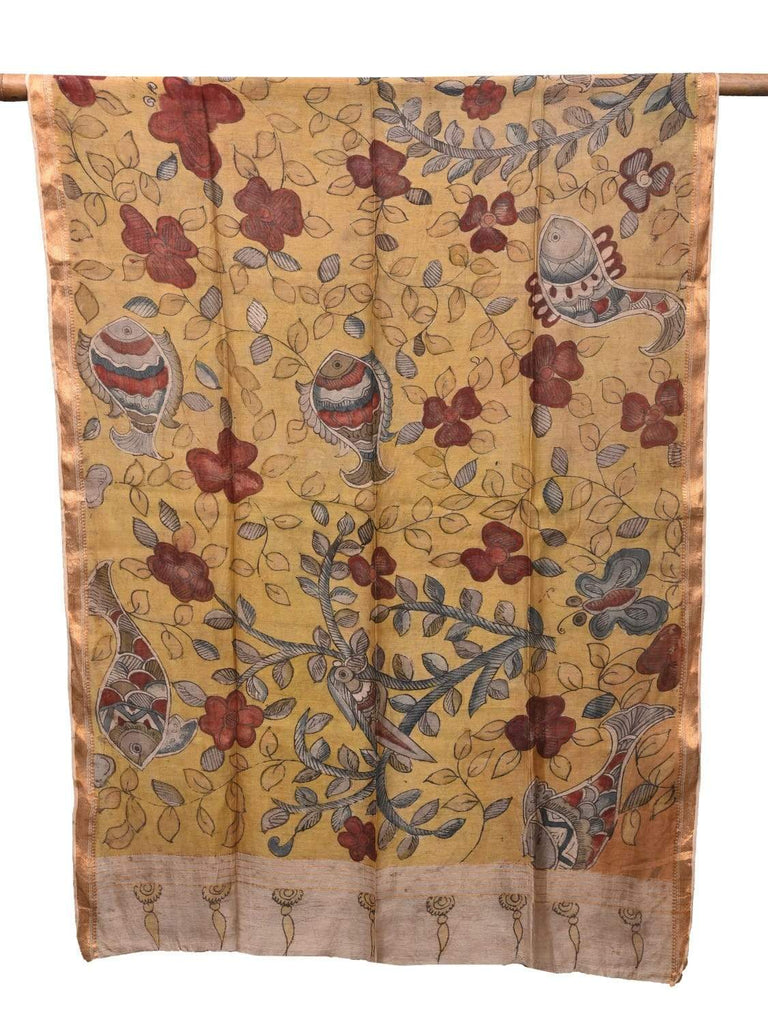 Yellow Kalamkari Hand Painted Cotton Silk Handloom Dupatta with Flowers and Fishes Design ds2154