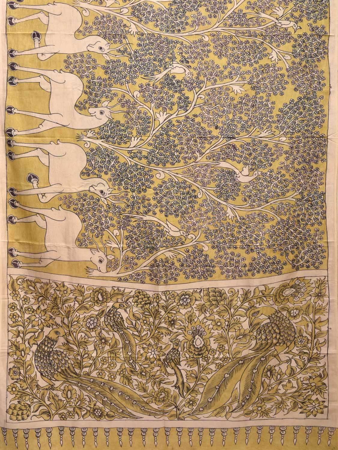 Yellow Kalamkari Hand Painted Silk Handloom Saree with Deers Design KL0258