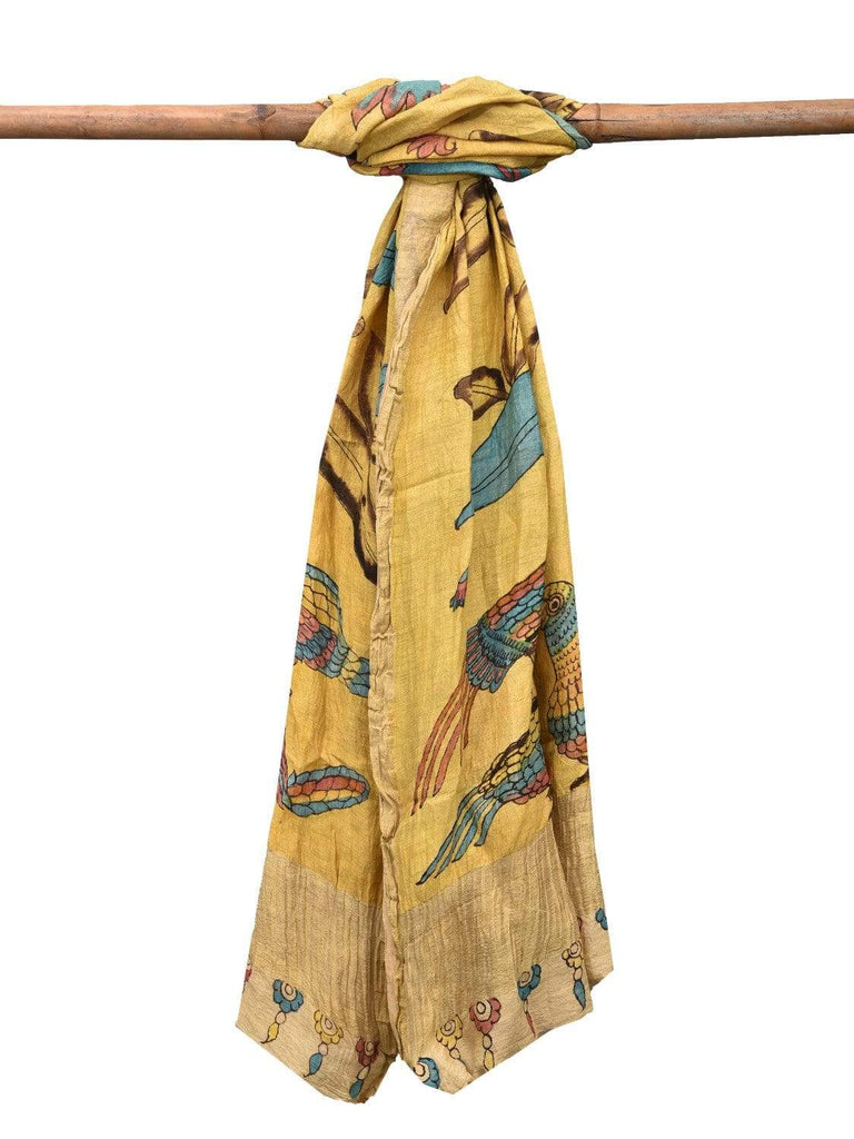 Yellow Kalamkari Hand Painted Tussar Handloom Dupatta with Flowers and Birds Design ds2145