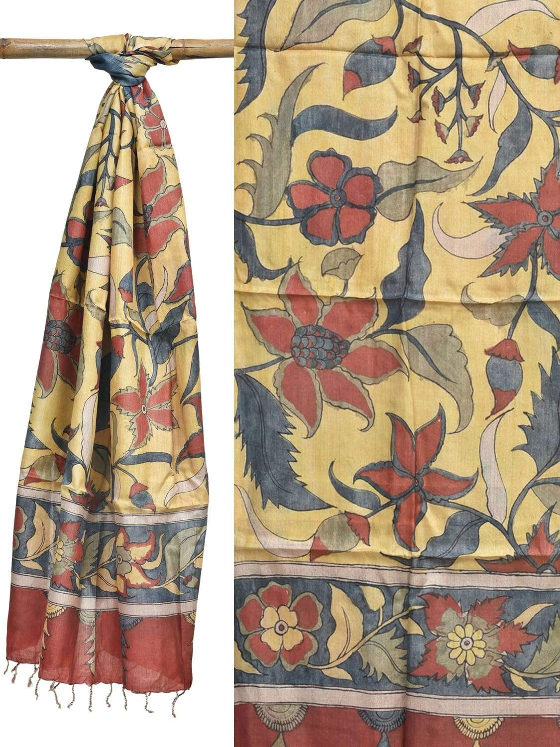Yellow Kalamkari Hand Painted Tussar Handloom Dupatta with Flowers Design ds1936