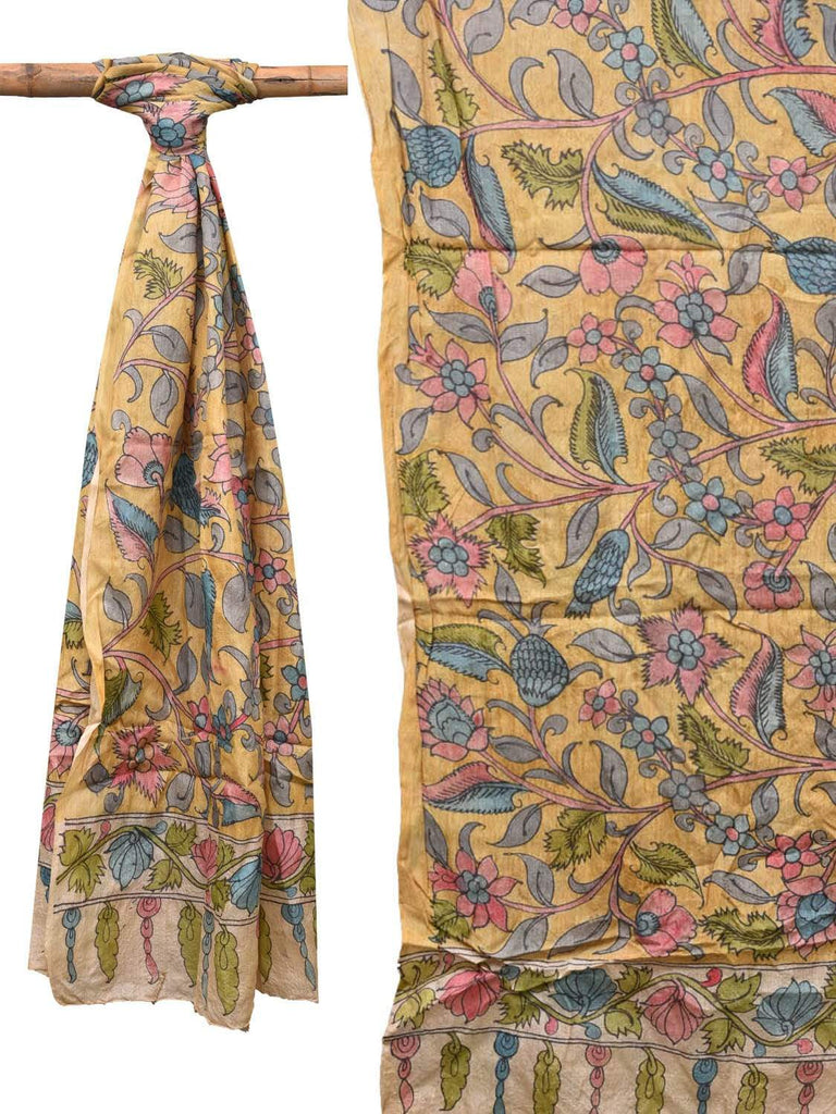 Yellow Kalamkari Hand Painted Tussar Handloom Dupatta with Flowers Design ds2146
