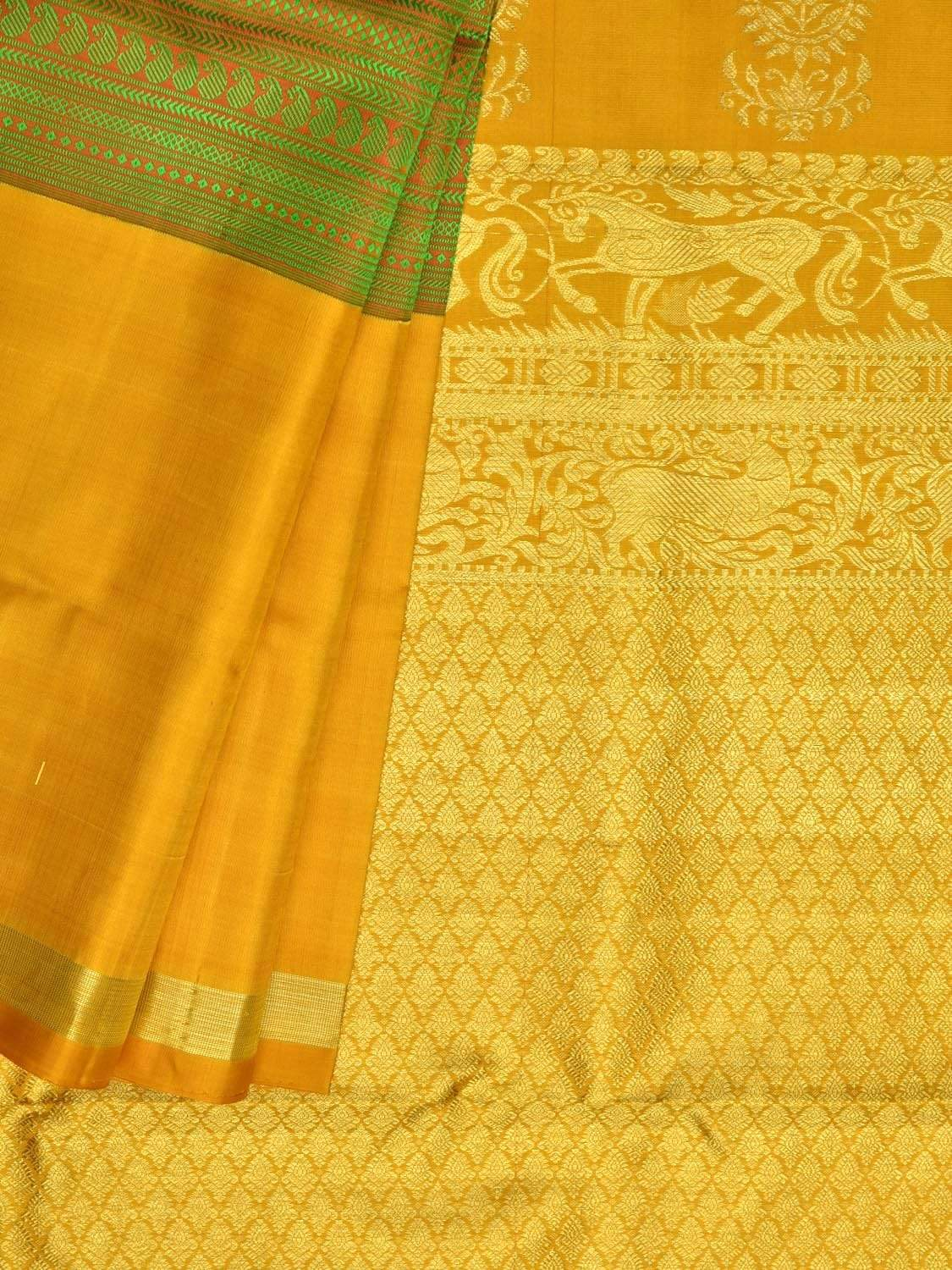 Yellow Kanchipuram Silk Handloom Saree with Mango Pallu and Middle Brocade Design k0487